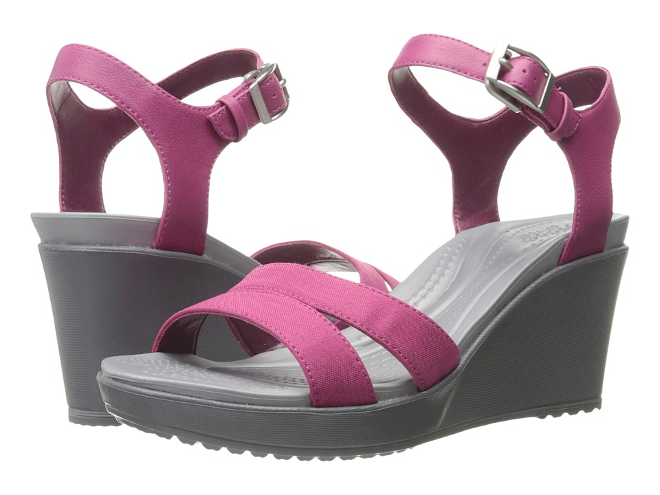 Crocs - Leigh II Ankle Strap Wedge (Berry) Women's Wedge Shoes