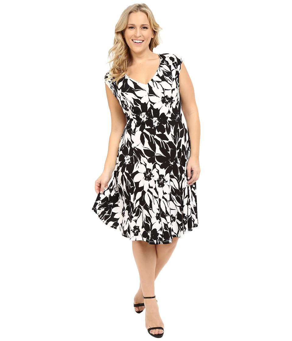 London Times - Plus Size Monotone Petals Fit and Flare (White/Black) Women's Dress
