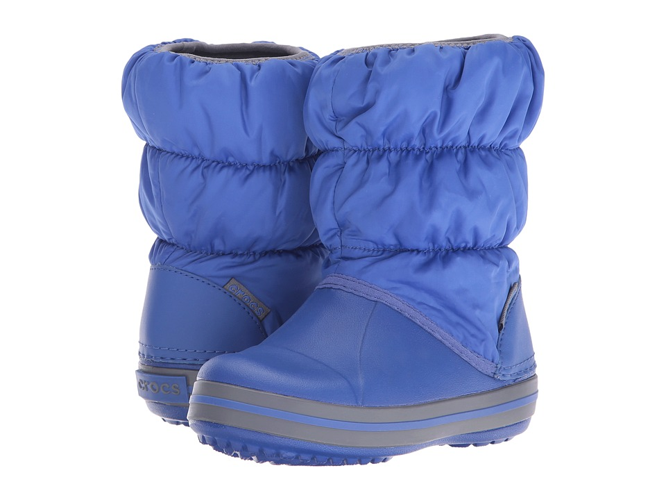 Crocs Kids - Winter Puff Boot (Toddler/Youth) (Cerulean Blue/Light Grey) Kids Shoes