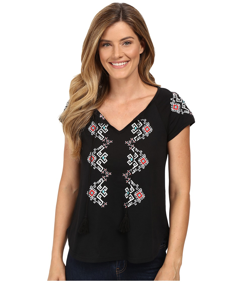 Roper - 0444 Lightweight Jersey Peasant Blouse (Black) Women's Blouse