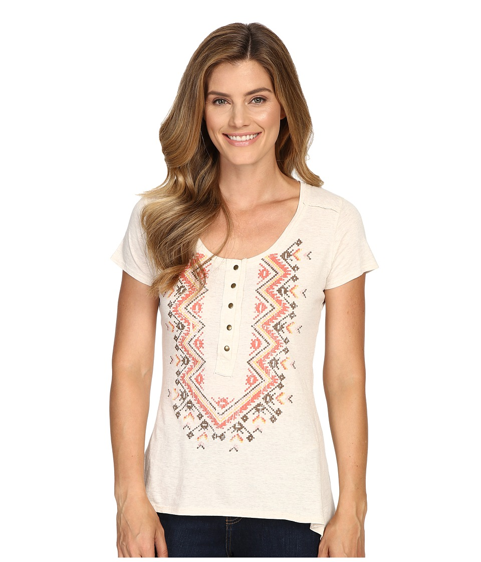 Roper - 0428 Oatmeal Heather Henley Top (White) Women's Short Sleeve Knit