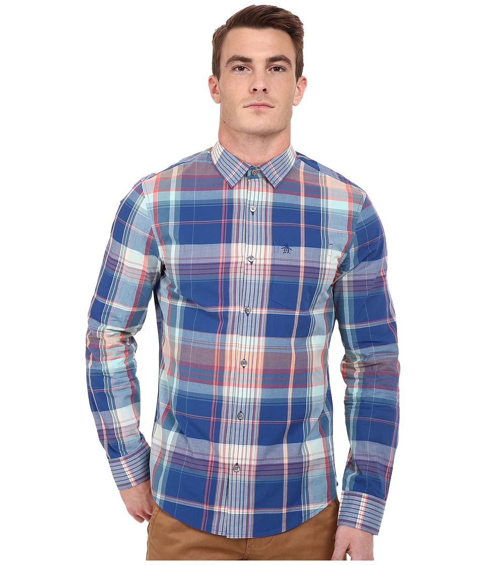 Original Penguin - P55 Long Sleeve Madras Plaid (True Blue) Men's Long Sleeve Button Up