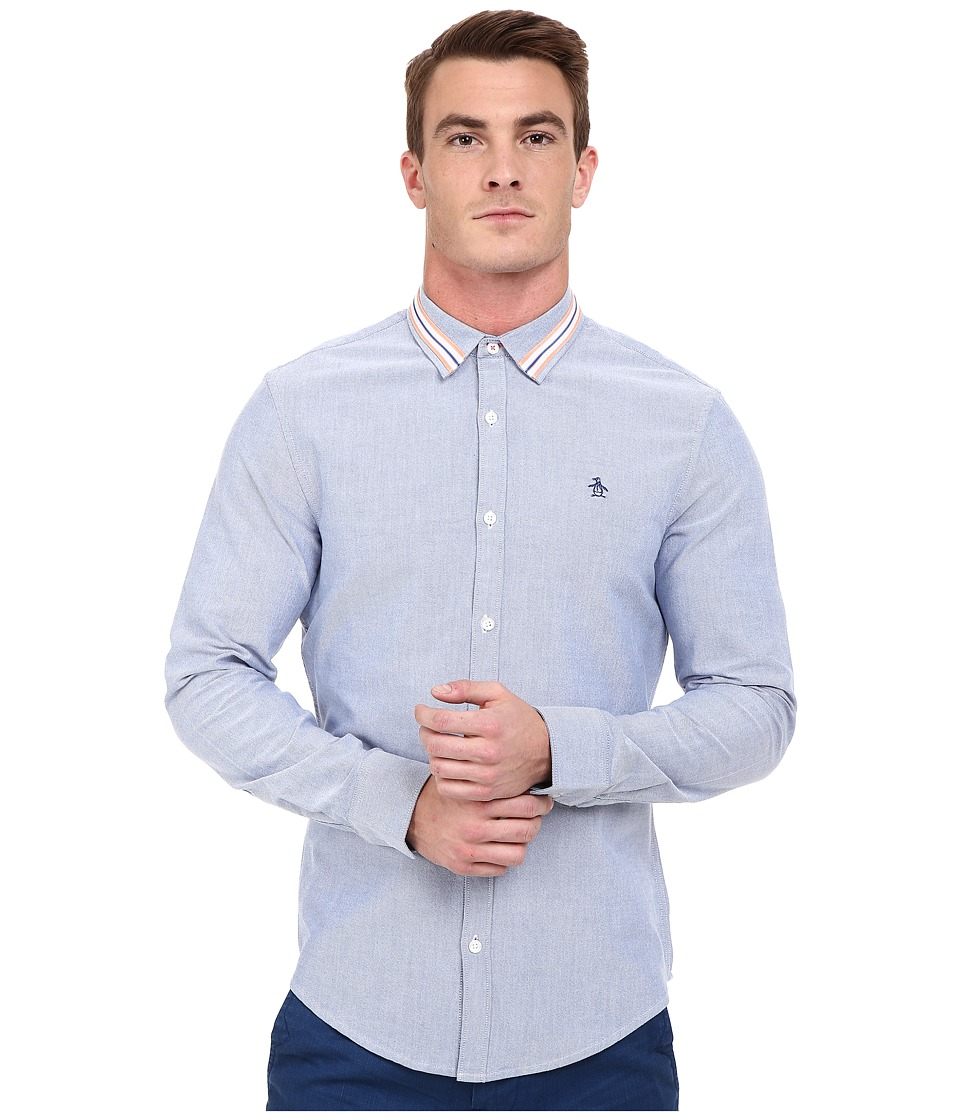 Original Penguin - Long Sleeve Brushed Oxford w/ Athletic Tape Detail (True Blue) Men's Long Sleeve Button Up
