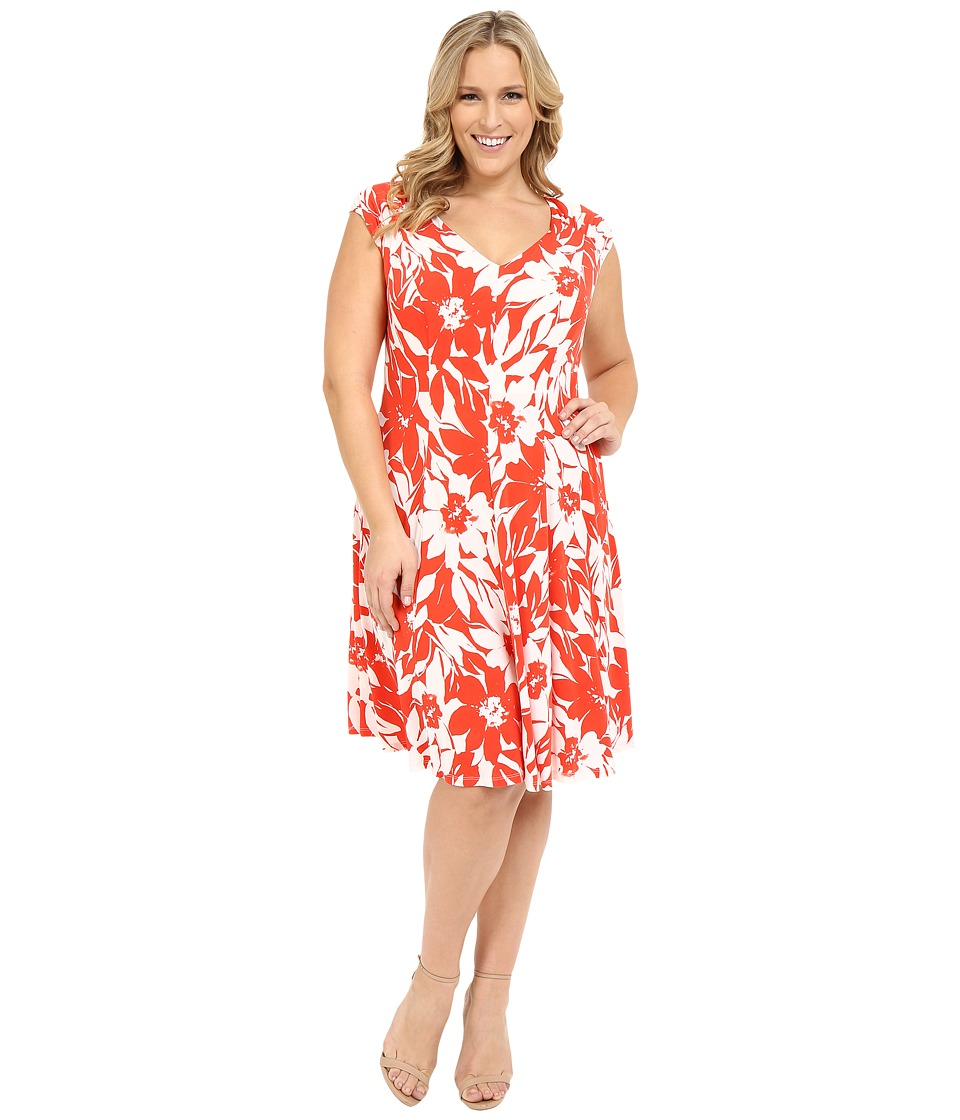London Times - Plus Size Monotone Petals Fit and Flare (White/Red) Women's Dress