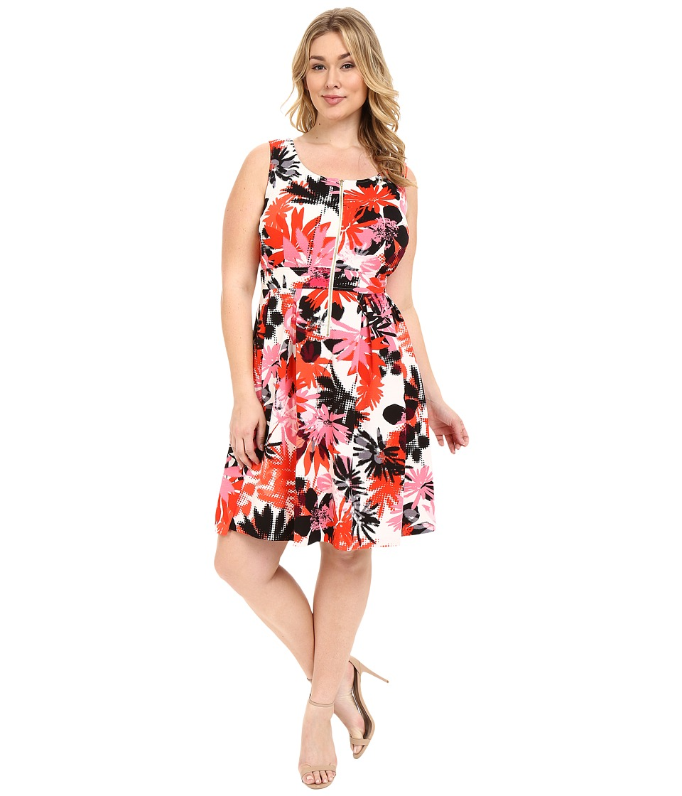 London Times - Plus Size Fit and Flare w/ Front Zipper (Pink Multi) Women's Dress