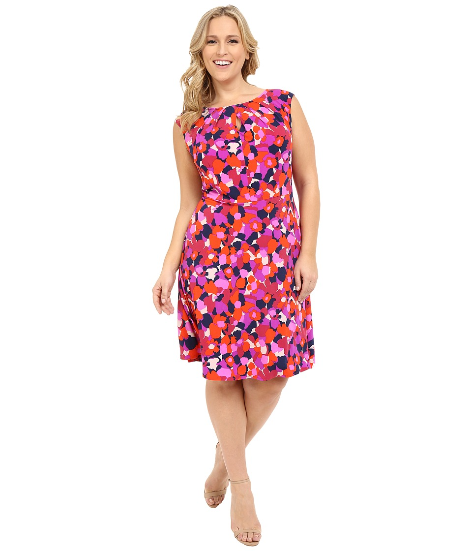 London Times - Plus Size 70s Flower Fit and Flare (Red) Women's Dress
