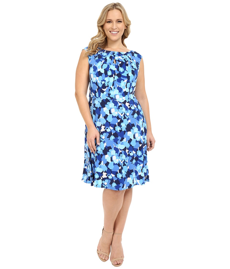 London Times - Plus Size 70s Flower Fit and Flare (Blue) Women's Dress
