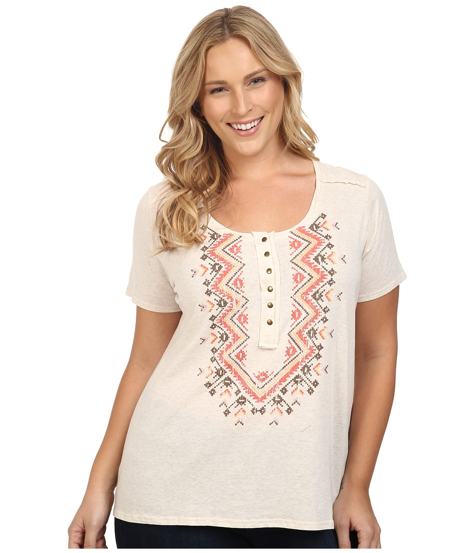 Roper - Plus Size 0428 Oatmeal Heather Henley Top (White) Women's Short Sleeve Knit