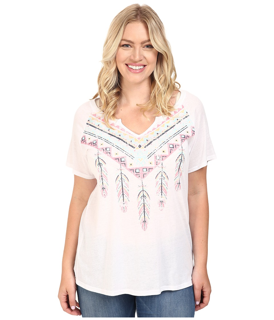Roper - Plus Size 0432 Lightweight Jersey Split Neck Tee (White) Women's T Shirt