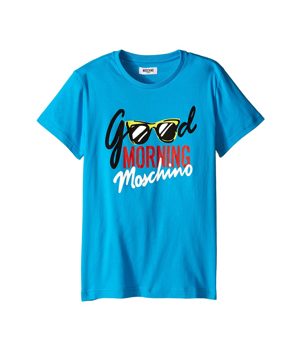 Moschino Kids - Good Morning T-Shirt (Big Kids) (Blue) Boy's T Shirt