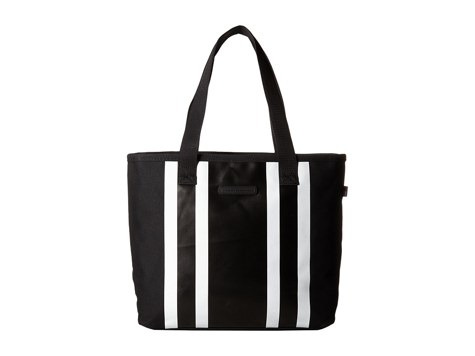 Tommy Hilfiger - TH Stripes - Painted Canvas Shopper (Black/White/Black) Tote Handbags