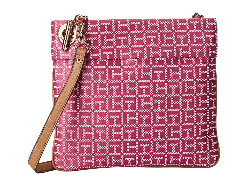 Tommy Hilfiger - Audrey Crossbody Monogram Jacquard Bag (Raspberry/White) Cross Body Handbags