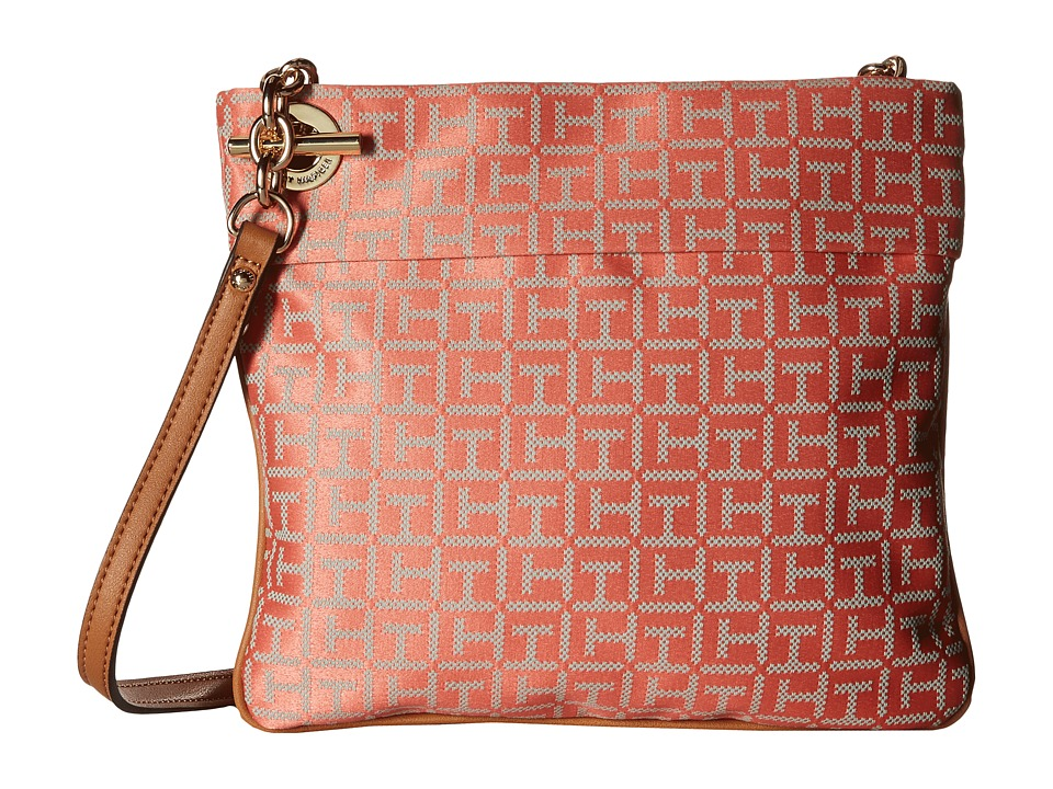 Tommy Hilfiger - Audrey Crossbody Monogram Jacquard Bag (Papaya/Multi) Cross Body Handbags