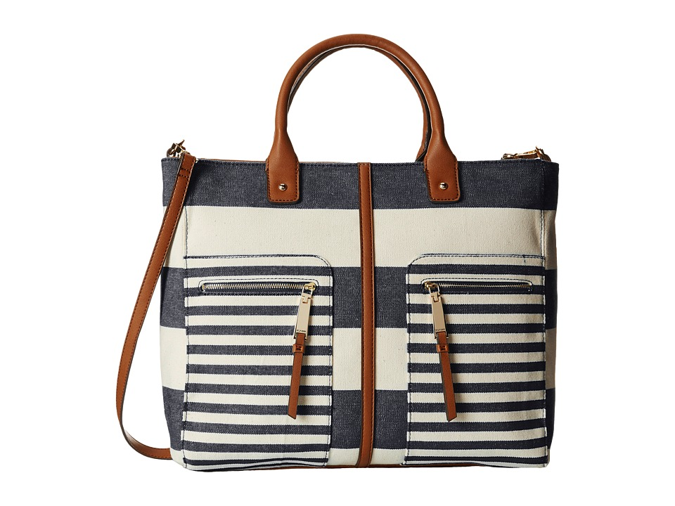 Tommy Hilfiger - Rugby Stripe Convertible Tote (Navy/Natural) Satchel Handbags