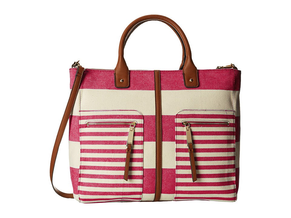 Tommy Hilfiger - Rugby Stripe Convertible Tote (Raspberry/Natural) Satchel Handbags