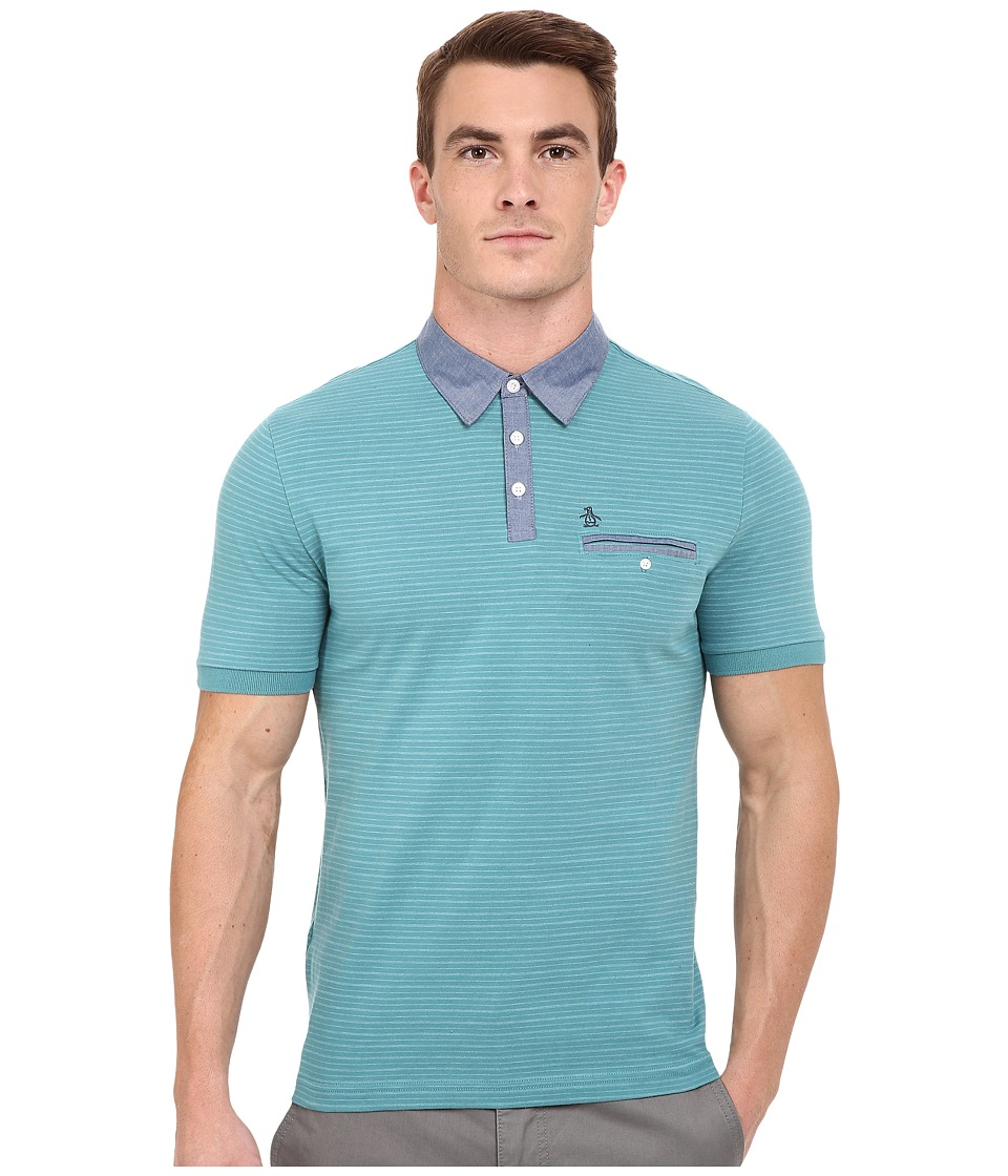 Original Penguin - Short Sleeve Shadow Stripe Polo with Chambray Collar (Brittany Blue) Men's Short Sleeve Pullover
