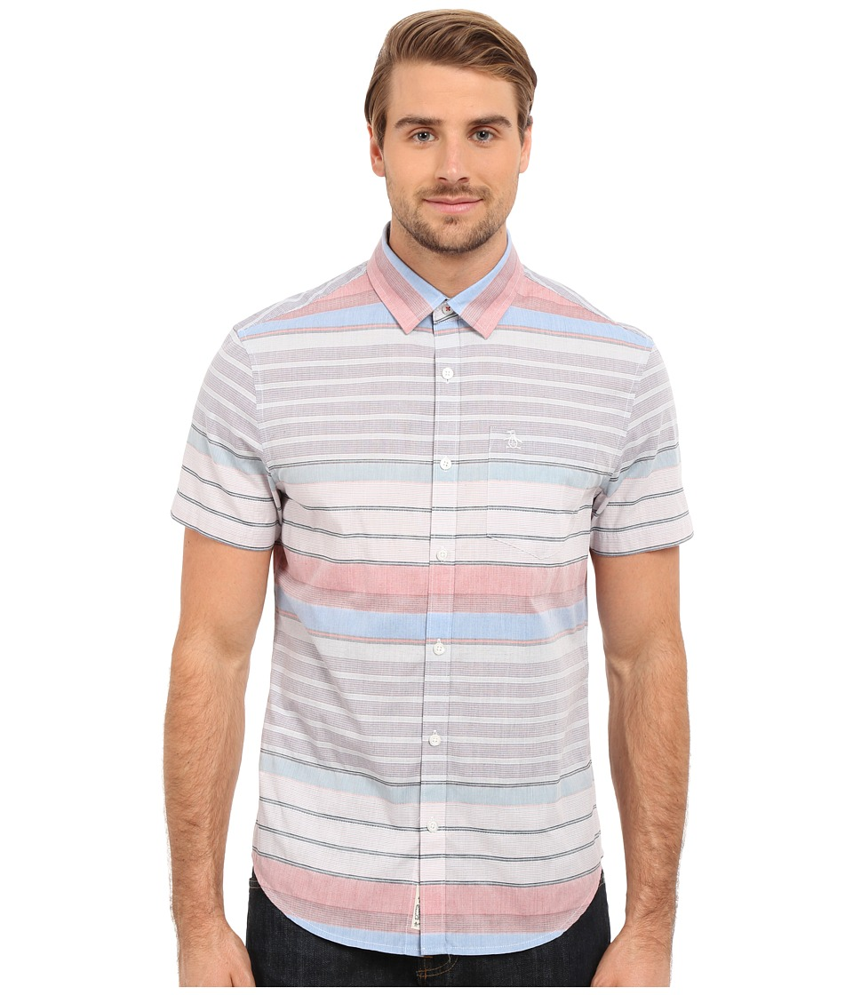 Original Penguin - Short Sleeve Horizontal Crinkle Stripe (Directoire Blue) Men's Short Sleeve Button Up