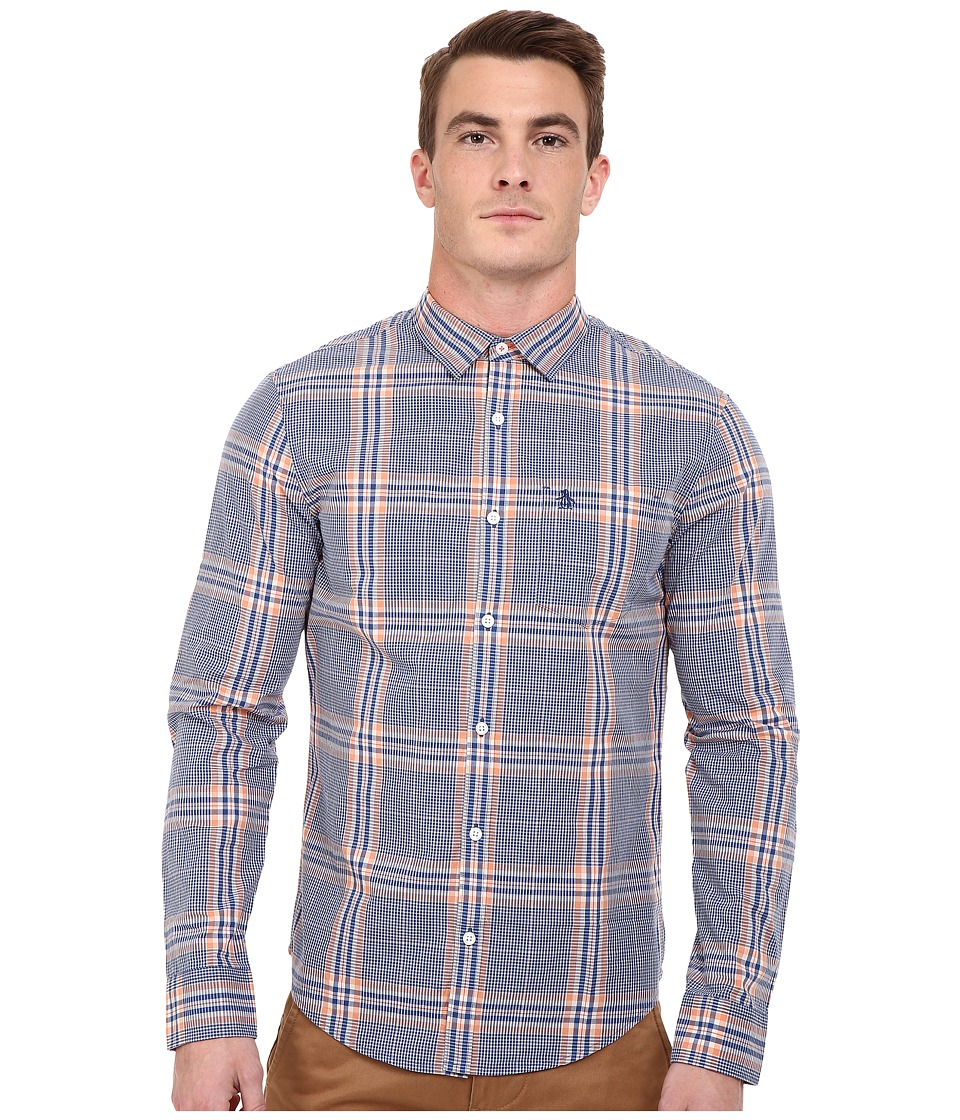 Original Penguin - P55 Long Sleeve Madras Plaid Heritage (True Blue) Men's Long Sleeve Button Up