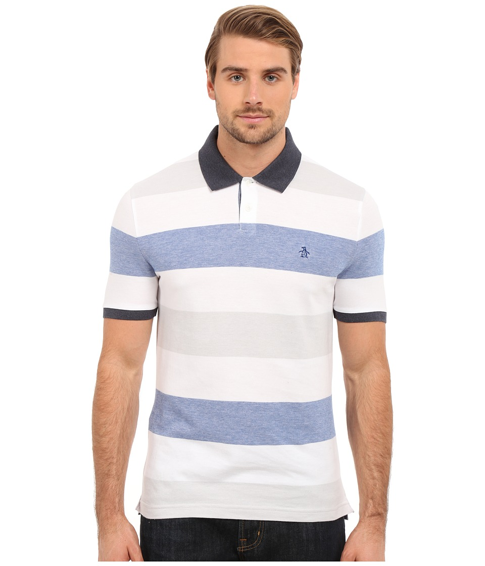 Original Penguin - Short Sleeve Birdseye Color Block Polo (Bright White) Men's Short Sleeve Pullover