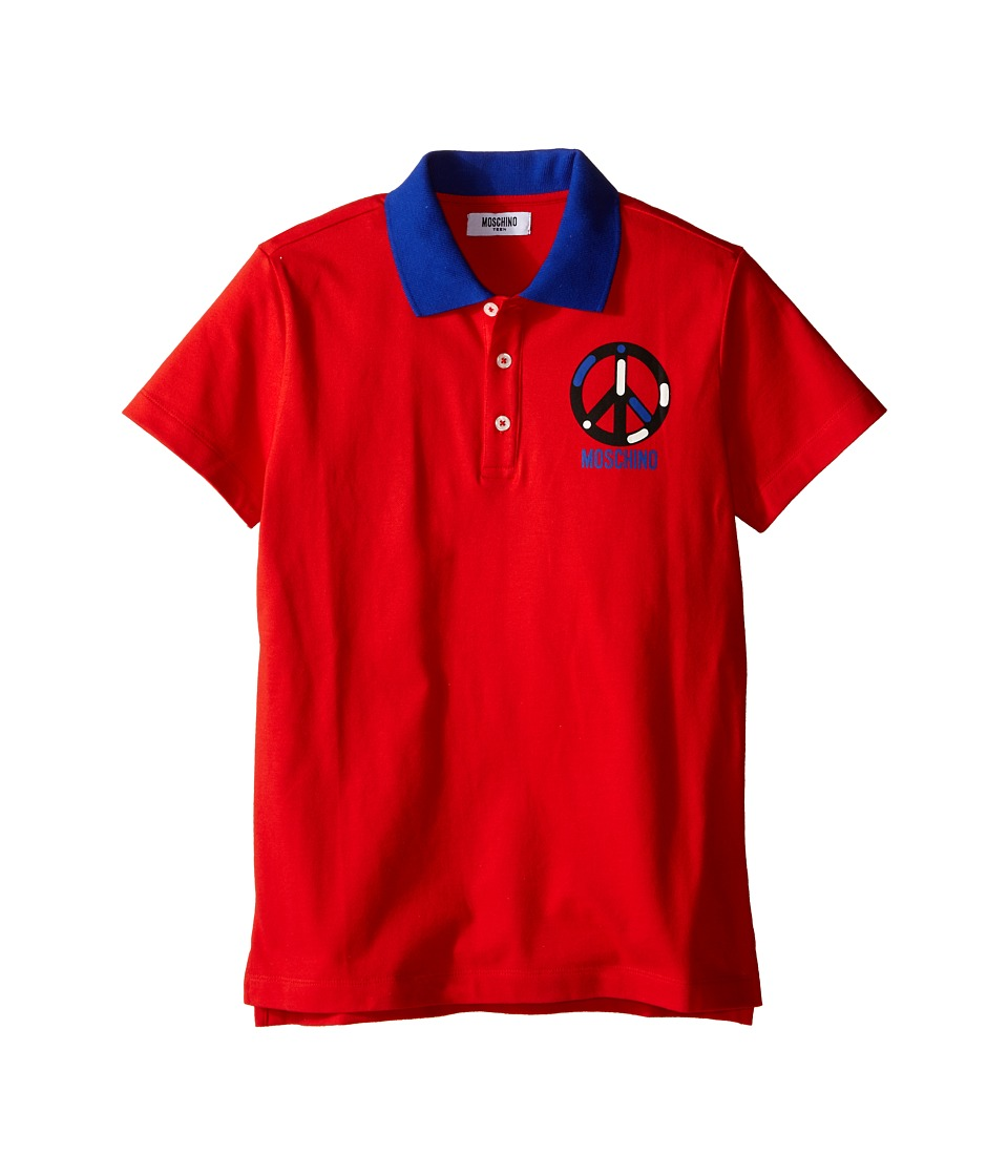 Moschino Kids - Short Sleeve Polo w/ Peace Sign Graphic (Big Kids) (Red) Boy's Short Sleeve Pullover
