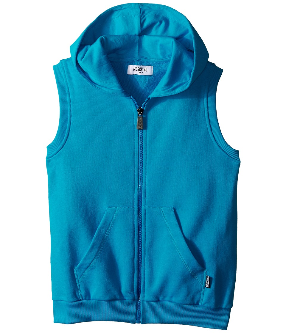 Moschino Kids - Sleeveless Hooded Sweatshirt (Big Kids) (Blue) Boy's Sweatshirt