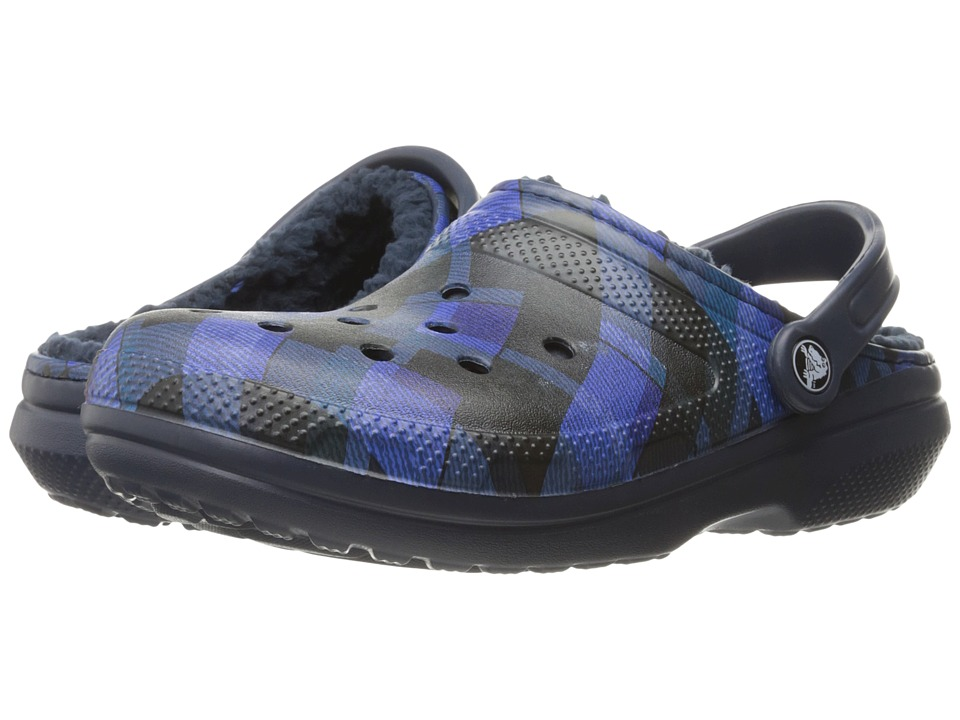 Crocs - Classic Lined Graphic Clog (Navy/Cerulean Blue) Clog Shoes