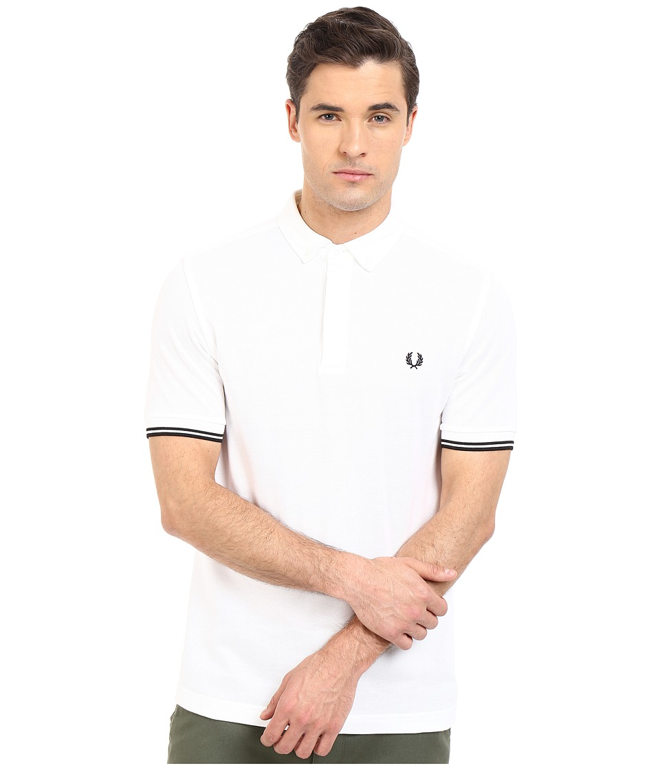 Fred Perry - Concealed Placket Shirt (White) Men's Short Sleeve Pullover