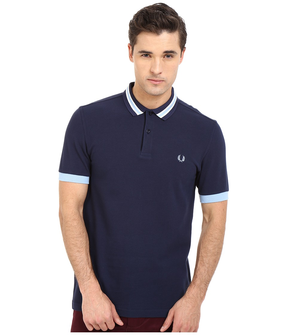 Fred Perry - Bomber Stripe Collar Shirt (Carbon Blue) Men's Clothing