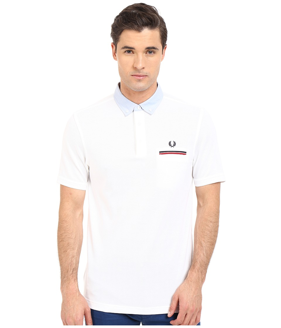 Fred Perry - Woven Oxford Collar Shirt (White) Men's Short Sleeve Pullover