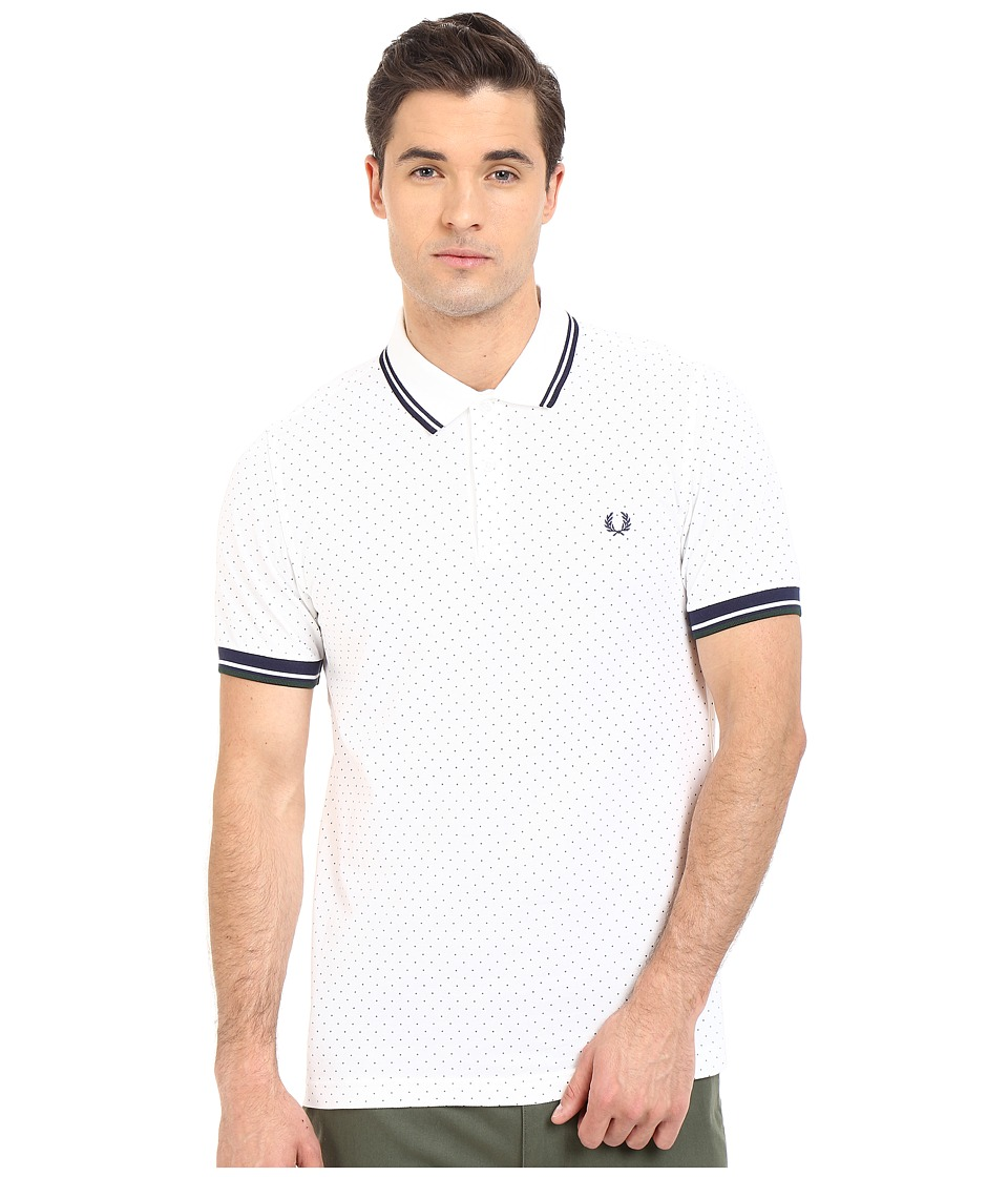 Fred Perry - Polka Dot Pique Shirt (White) Men's Short Sleeve Pullover