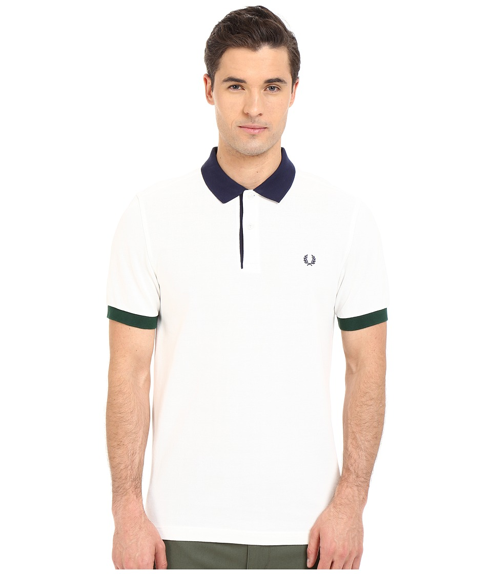Fred Perry - Colour Block Pique Shirt (Snow White) Men's Short Sleeve Pullover