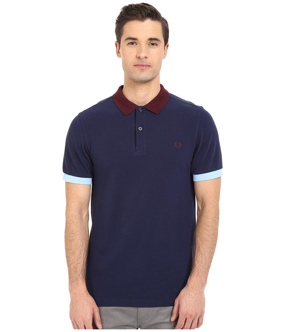 Fred Perry - Colour Block Pique Shirt (Carbon Blue) Men's Short Sleeve Pullover