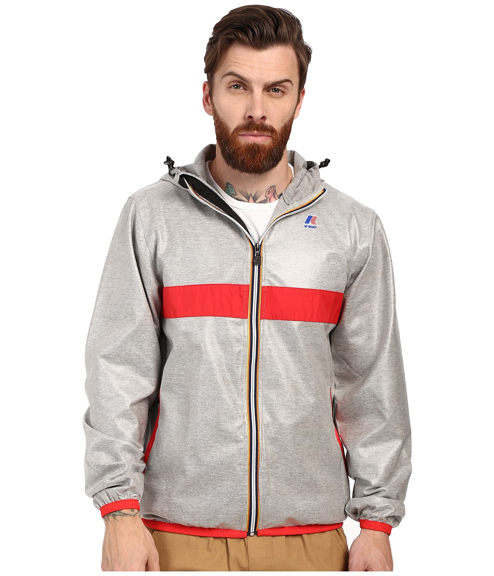 K-WAY - Claude Laminated (Hearther Grey/Red Trim) Men's Clothing
