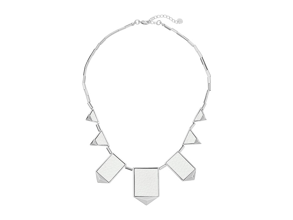 House of Harlow 1960 - Five Station Pyramid Necklace (White/Silver) Necklace