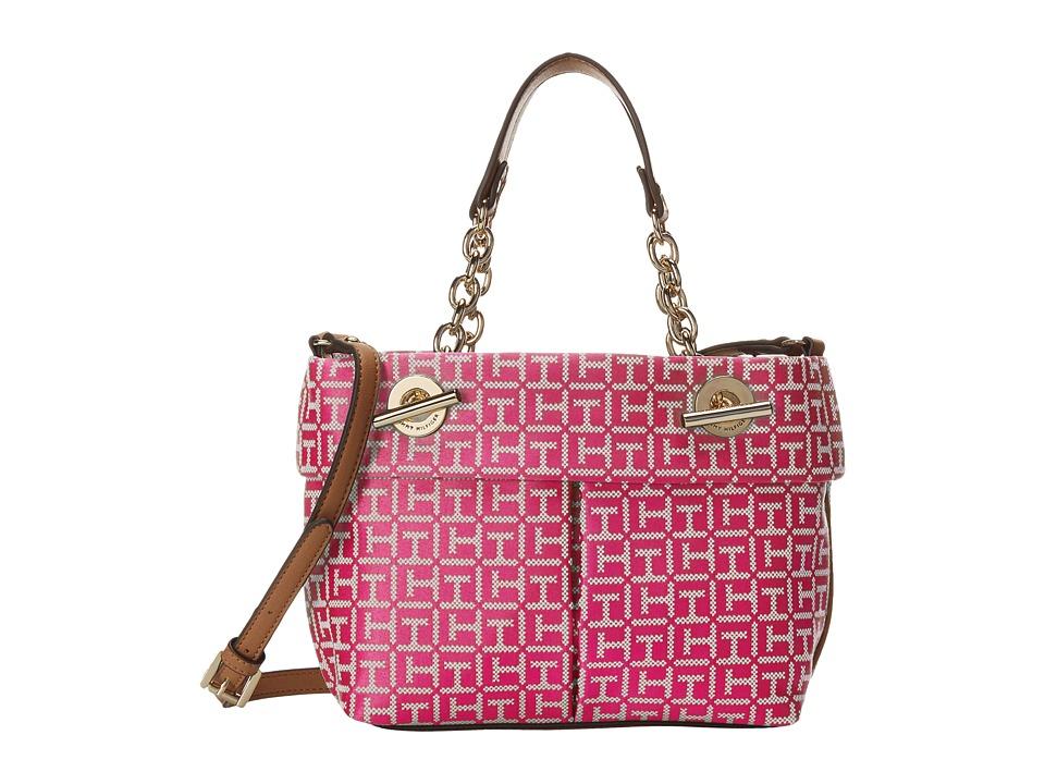 Tommy Hilfiger - Audrey Mini Convertible Shopper (Raspberry/White) Satchel Handbags