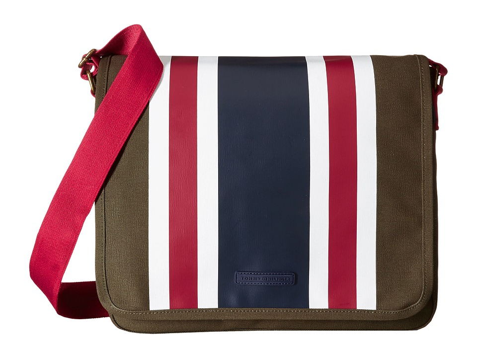 Tommy Hilfiger - TH Stripes - Painted Canvas Messenger (Olive/Navy/Red) Messenger Bags