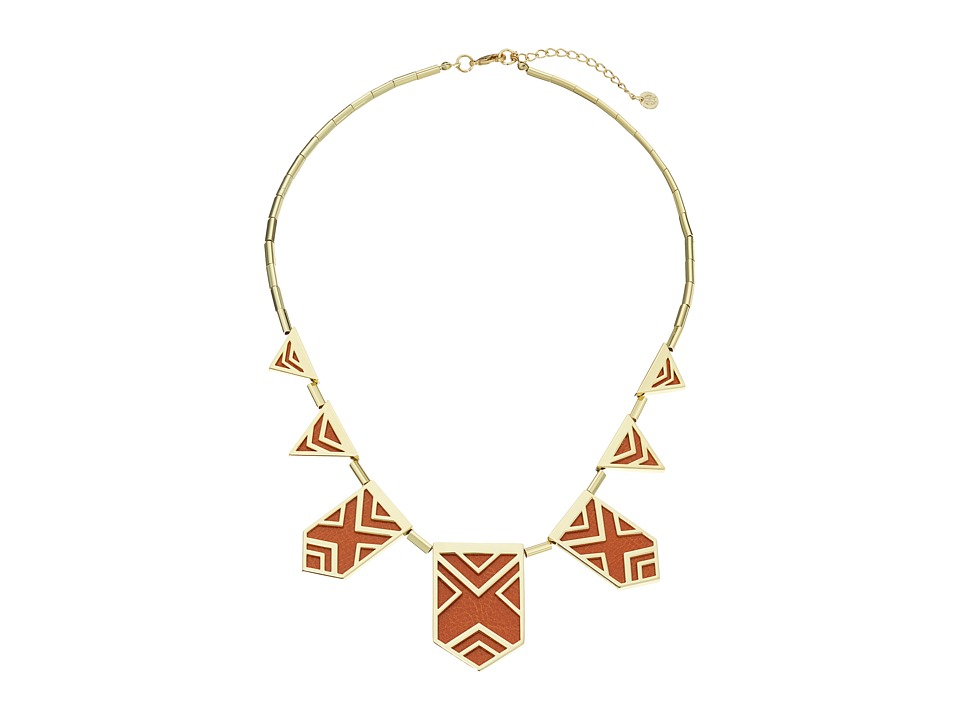 House of Harlow 1960 - Classic Caged Station Necklace (Tan) Necklace