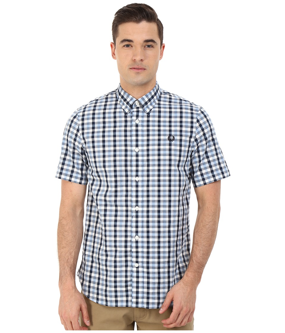 Fred Perry - Herringbone Gingham Shirt (Glacier) Men's Clothing