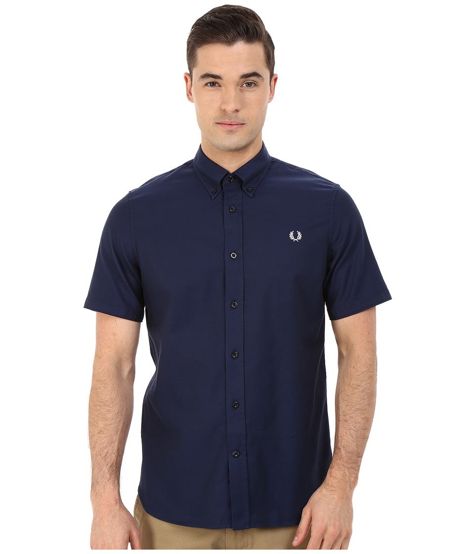 Fred Perry - Classic Twill Shirt (Navy) Men's Clothing