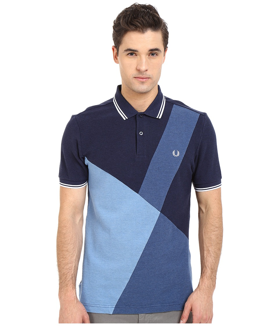 Fred Perry - Blue Colour Block Panel Shirt (Blue Marl) Men's Short Sleeve Pullover