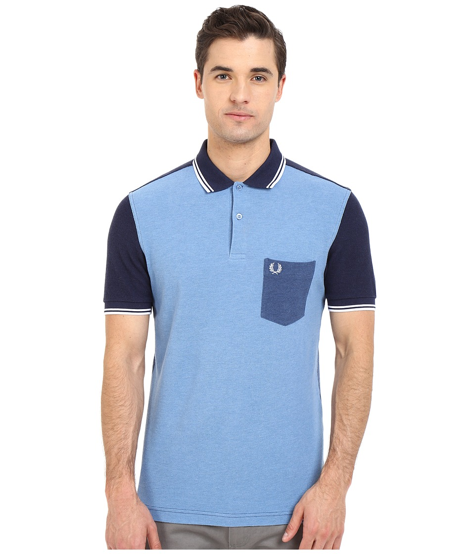 Fred Perry - Blue Colour Block Shirt (Blue Marl) Men's Short Sleeve Pullover