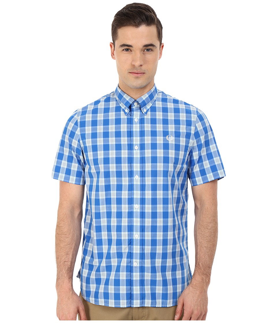 Fred Perry - Tartan Gingham Mix Shirt (Prince Blue) Men's Clothing
