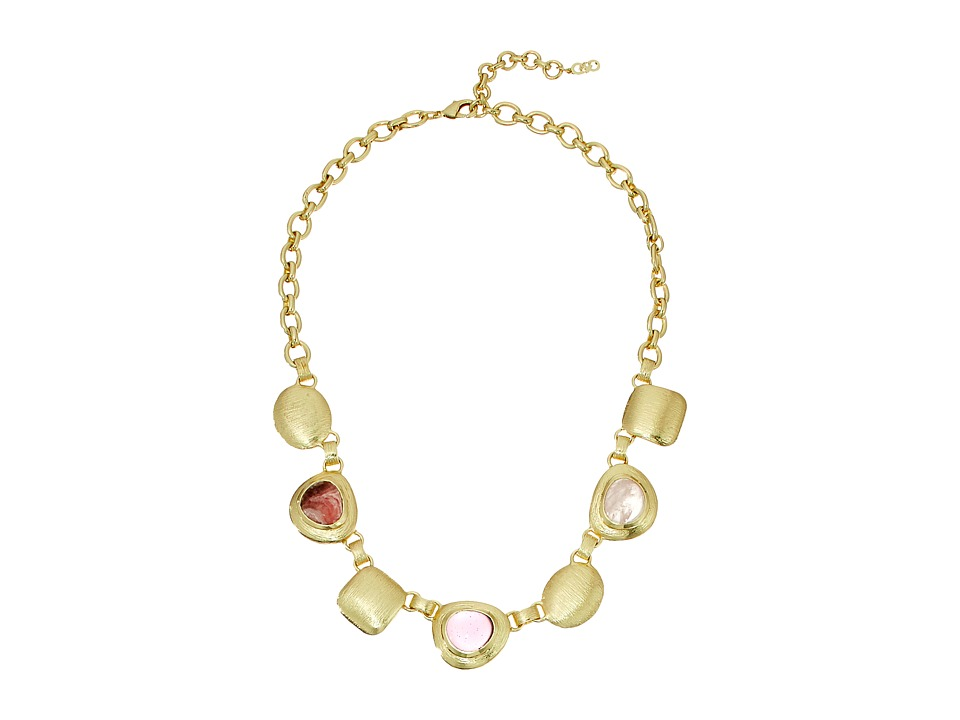 Cole Haan - Chunky Drama Necklace (Gold/Rose Quartz/Rhodochrosite/Dark Pink) Necklace