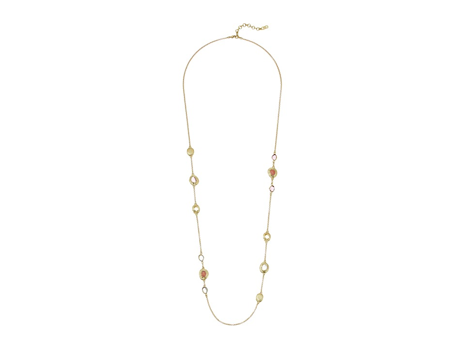 Cole Haan - Stone Station Necklace (Gold/Rose Quartz/Rhodochrosite/Dark Pink) Necklace