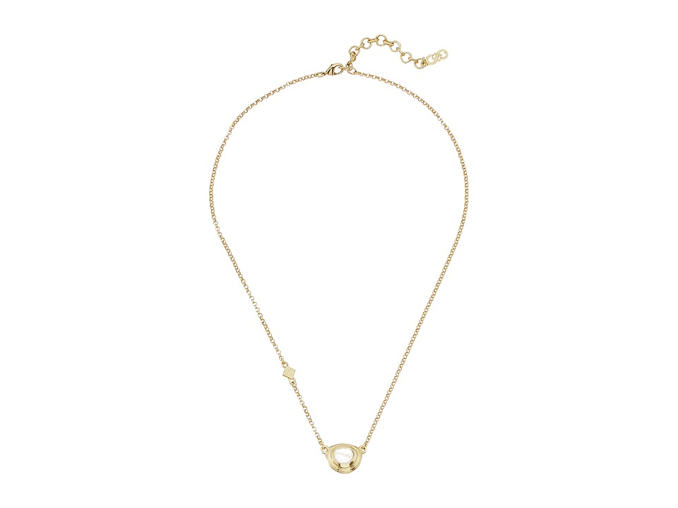Cole Haan - Dainty Stone Pendant (Gold/Rose Quartz) Necklace