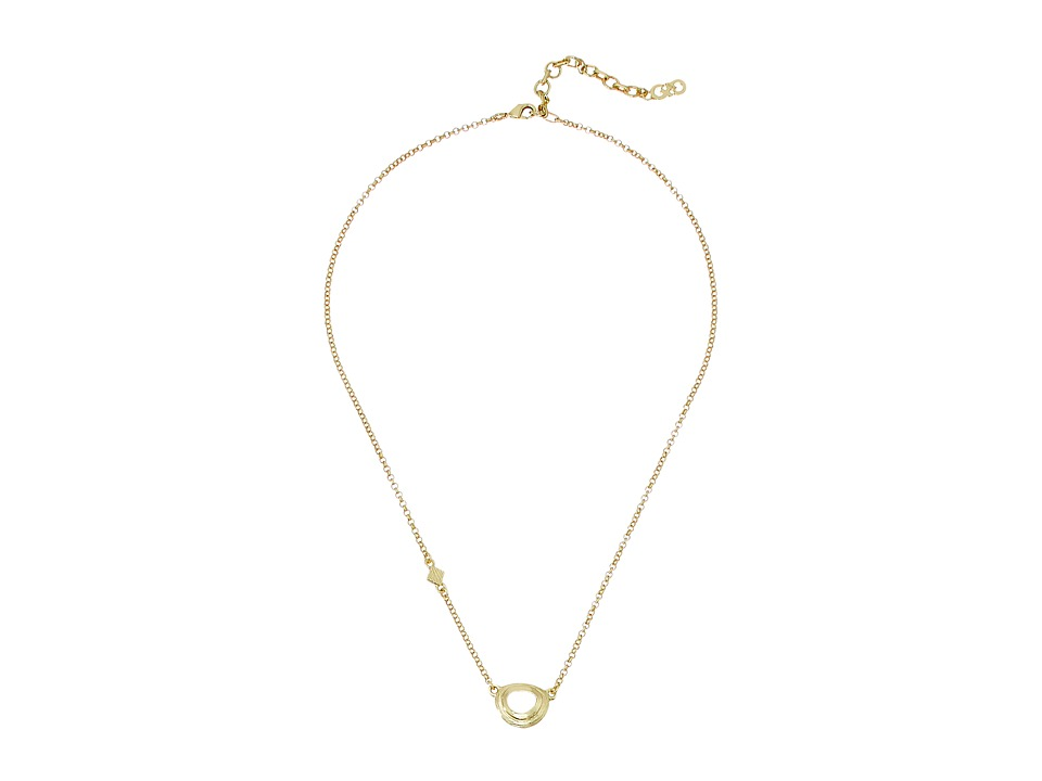 Cole Haan - Dainty Stone Pendant (Gold/Dark Pink) Necklace