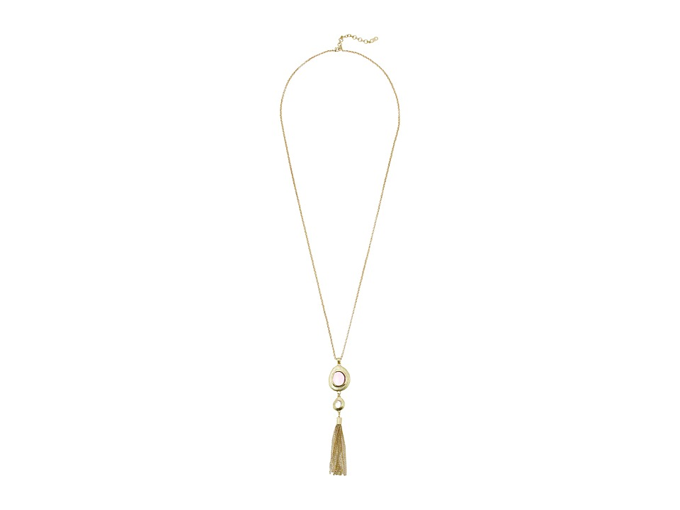 Cole Haan - Stone Tassel Pendant Necklace (Gold/Dark Pink/Rose Quartz) Necklace