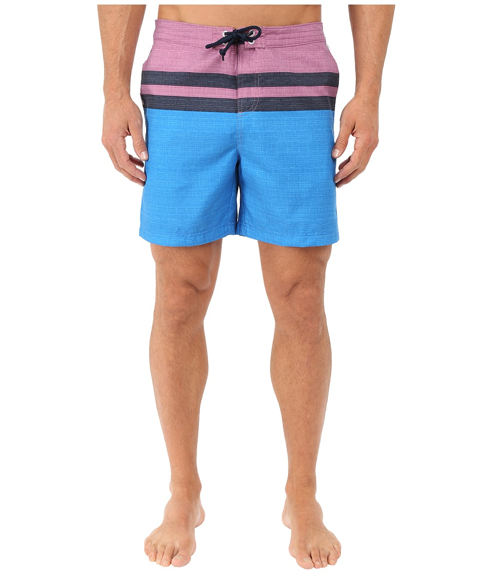 Original Penguin - Chambray Stripe Print Fixed Volley (Directoire Blue) Men's Swimwear