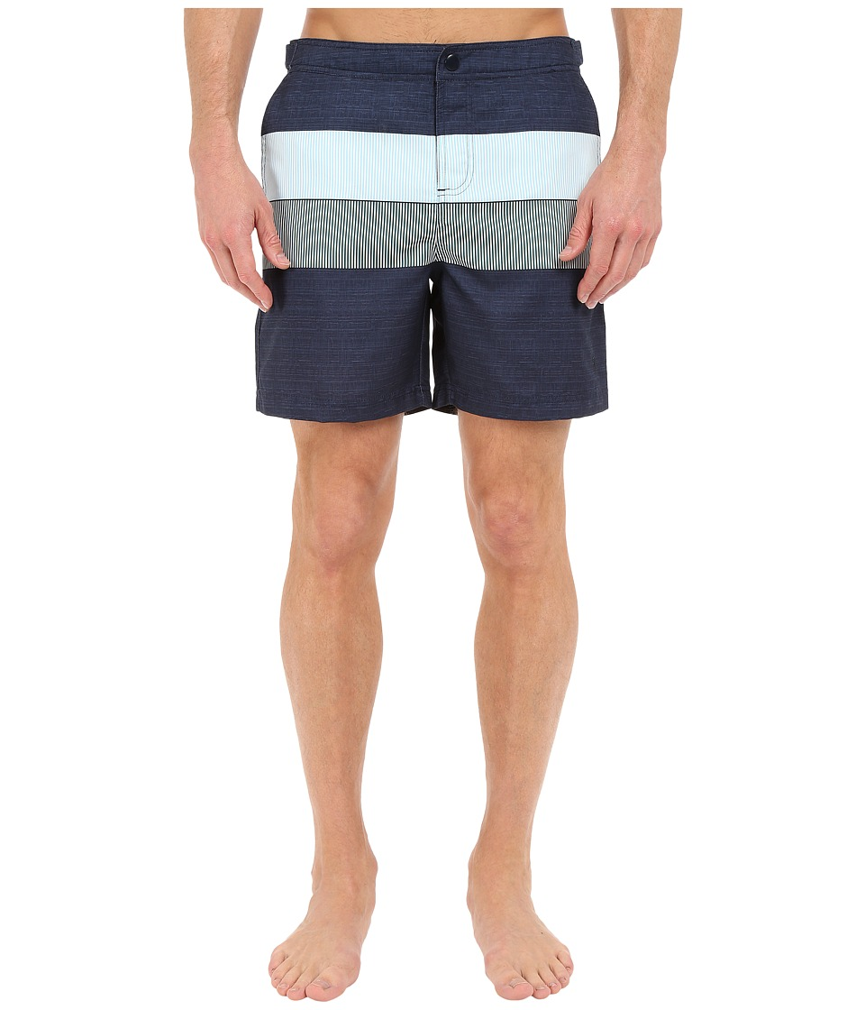 Original Penguin Pieced Stripe Print Fixed Volley Fit (Dark Sapphire) Men