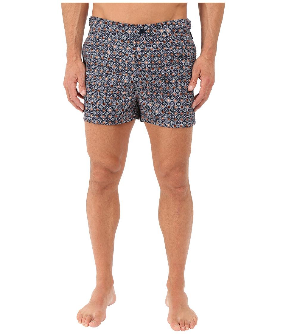 Original Penguin - Tile Print Fixed Box Fit (Dark Sapphire) Men's Swimwear